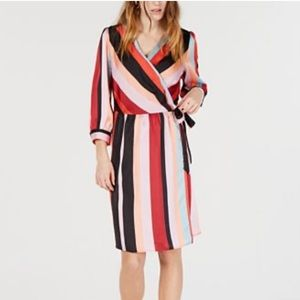 NEW Bar III Striped Wrap Dress
